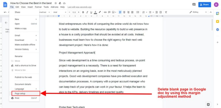 How to delete a page in google docs quick trick