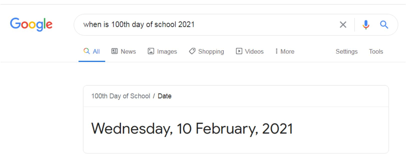 when is 100th day of school in 2021