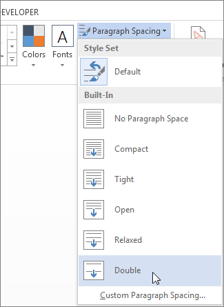 Paragraph spacing - Double Space in Word Doc